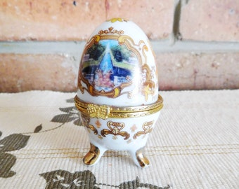 Russian Peterhof Palace footed porcelain egg trinket box, Faberge style, 1980s souvenir