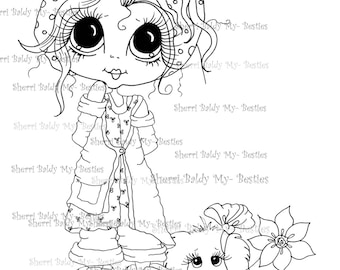 INSTANT DOWMLOAD Digital Digi Stamps Big Eye Big Head Dolls Digi  My Besties Sweetie Pie And Her Dog By Sherri Baldy