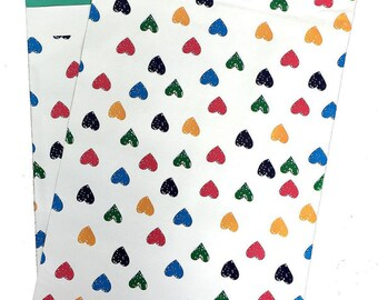 """10"""" x 13"""" Rainbow Hearts FLAT POLY MAILERS Postal Approved Mailers   (50 Pack)"""
