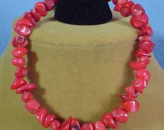 "9"" Red Coral Bracelet - B036"