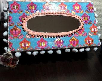 Beautiful Bollywood handkerchief box.