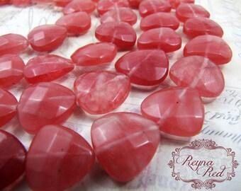 """Cherry """"Quartz"""" Glass Faceted Triangle Beads, full strand, bead strand, glass beads, pink glass beads, trillion beads - reynaredsupplies"""