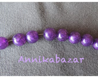 50 purple effect resin beads cracked 9.5 mm in diameter