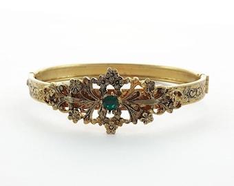 Antiqued Gold Emerald Bangle