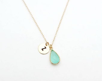 March Birthstone Pendent Initial Necklace, Aqua Birthstone Necklace, Personalized Necklace, Bridesmaid Gift, Bridesmaid Jewelry
