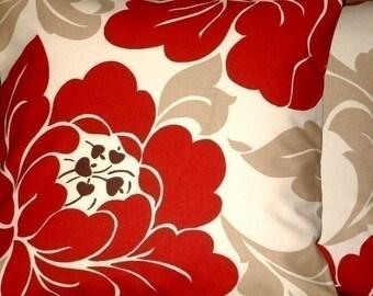 2 New 16 inch Handmade Contemporary Red Cream Black Taupe Design Funky Designer Retro Pillow Cases,Cushion Covers,Pillow Covers,Pillow,New Fabric,Pillow Sham,Decorative Pillow