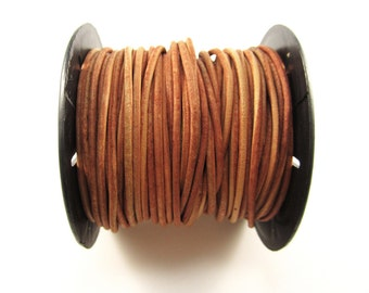 25 Yard Spool - 2mm Naturally Dyed Orange Leather Cord