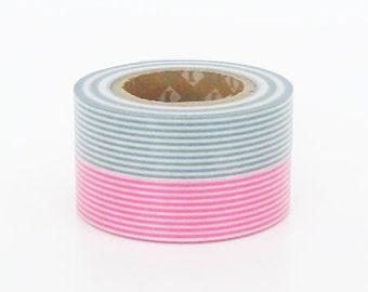 mt Washi Masking Tape - Pink & Smoke Grey Stripe - Set 2 (15m rolls)
