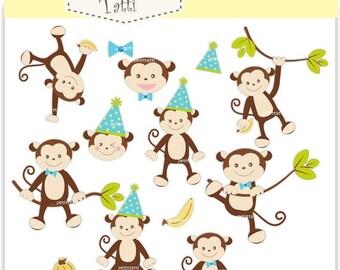 ON SALE Monkey Clip Art // Monkeys boy, Jungle Animals,baby monkey party boys clip art, Instant download clip art