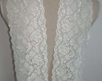 3 yards ivory french lace trim (N73)/ stretch lace trim by the yard
