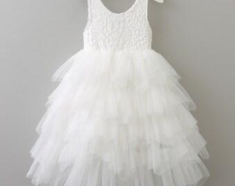 Flower Girl Dress White Flower Girl Dress Lace Flower Girl Dress White Tulle Dress White Tutu Dress Bridesmaid Dress Rustic Wedding Boho