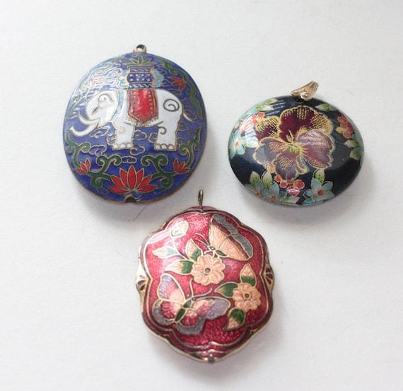 Vintage Three Pendant Lot Cloisonne Floral Elephant Repurpose Jewelry Supply DIY