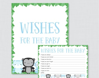Jungle Theme Wishes for Baby Baby Shower Activity - Printable Well Wishes for Baby Cards and Sign - Instant Download- Blue Jungle 0042-B