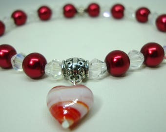 Cranberry pearls, clear AB crystals, Murano glass heart Pet Dog, Cat stretch Necklace Jewelry Neck Ware Handmade Help save a cat/kitten