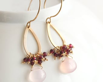 Pink Earrings, Garnet Earrings, Dangle Earrings, Gold Earrings, Gemstone Jewelry