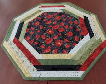 Quilted Poppy Table Mat, Poppy Table topper, Floral Table Mat, Octagonal Table Mat