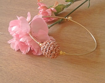 """Thin Bangle Bracelet brass gilded with its delicate bead crochet - model """"Suzy"""""""