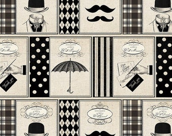 Gentlemen, Mustache, Black Cream, Mustache Fabric, by David Textiles Fabric, Novelty, 100% Cotton - YARD