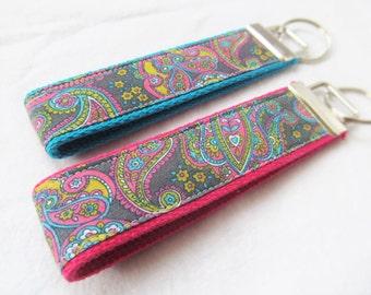 Key Fob Key Chain Wristlet - Paisley in Gray, Pink, Aqua and Yellow - Fabric keychain