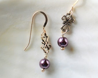 Rose Freshwater Pearl and Sterling Silver Earrings