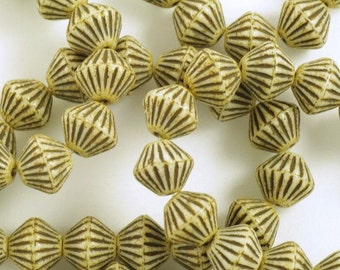 Large Bicone Opaque Beige Picasso Czech Glass Beads 11mm - 15