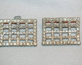 Rhinestone Shoe Clips, Large Pair, Vintage Old Jewelry