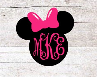 Minnie Mouse Monogram Decal | Micky Mouse Monogram Decal | Disney Monogram Decal | Disney Yeti Decal | Car Decal | Car Sticker | Vinyl Decal