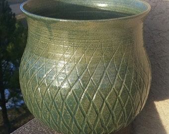 SALE Large Gren Grass Collection Planter - Handmade and Carved Pottery by The Wheel and I