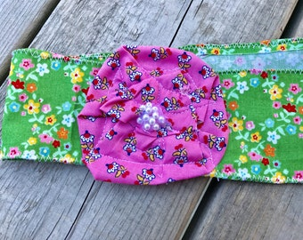 Green floral  fabric and flower headband