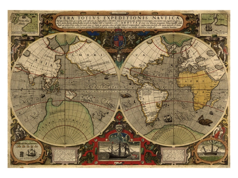 Hondius map of the world antique map wall decor restoration hondius map of the world antique map wall decor restoration style vintage map print old maps and prints world map art poster gumiabroncs
