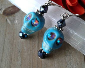 Large Turquoise Rhinestone Skull Earrings
