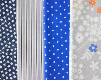 Fabric Bundle Precut 1/2 Yard Each Print 2 Yard Total - Blue