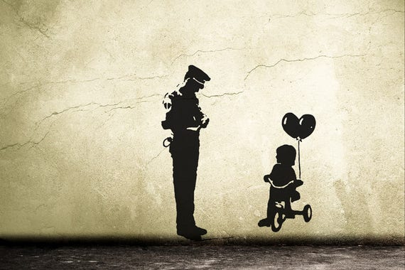 Wall decal BANKSY TRICYCLE COP police guard and ballon girl