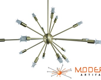 Sputnik Atomic Lamp Mid Century Light Chandelier Brushed Brass 50's Modern Eames Retro