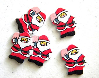 6 Painted Wooden Santa Buttons - Father Christmas