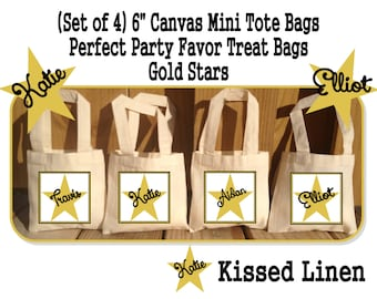 Personalized Gold Star Birthday Party Favor Bags Gold Stars Black Treat Gift Bags Mini Cotton Totes Kids Party Bags - Set of 4