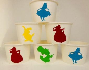 Alice in wonderland party cups, Alice Party, Tea Party, Alice in Wonderland Birthday Party Cups, Alice in Wonderland favors
