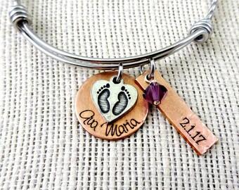 New Mom Push Present - Copper - Necklace Bangle Bracelet Keychain - Birth Adoption Custom Jewelry - Baby Feet Name Birthstone