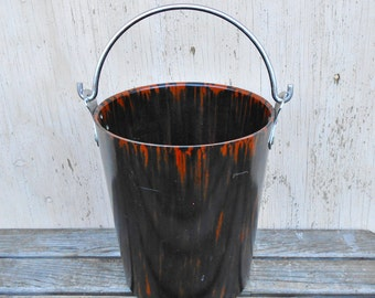 Bolta Champagne Bucket, Deco Plastic Barware Pail, Tortoiseshell MCM
