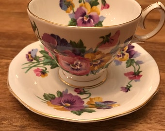 "Queen Anne ""Spring Melody"" teacup and saucer set"