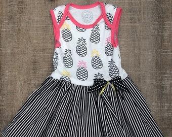 18-24 month pineapple dress, 18 month pineapple dress, 24mth pineapple dress, baby pineapple dress, pineapple sundress, 24 month sundress,