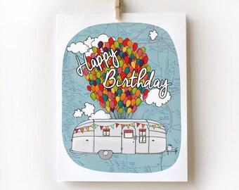 Airstream Trailer Birthday Card