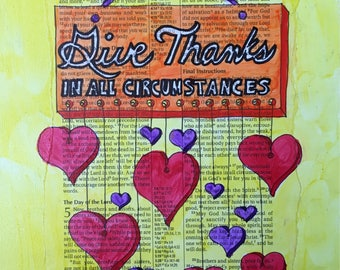 Bible journaling thankful art