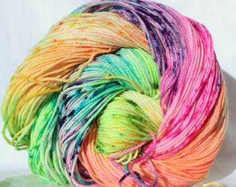 RTS Hand Dyed Yarn,  orange pink blue purple green speckled yarn, worsted weight, superwash merino wool,  100g