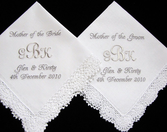 Monogrammed personalized handkerchiefs for mother of bride and groom
