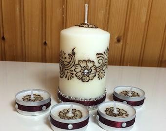 Henna candle set of 5