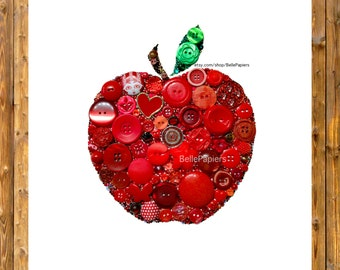 Apple Decorations Fruit Flowers Anniversary Apple Button Art Apple for the Teacher Buttons and Swarovski Rhinestones Teacher Appreciation