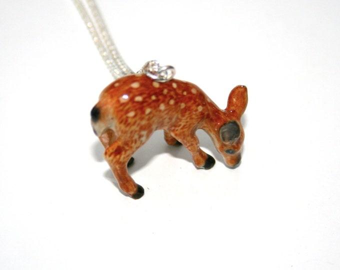 Porcelain Deer Necklace, Animal Necklace
