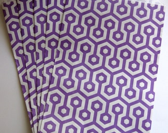 """Set of 10 Purple and White Honeycomb Middy Bitty Bags (5"""" x 7.5"""")"""