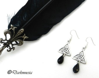 Earring, drop, triquetra, black, crystal, celtic, wicca, gothic